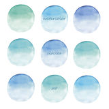 Watercolor circles. Set on white background hand painted Royalty Free Stock Photo