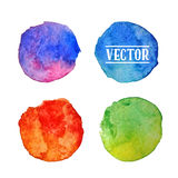 Watercolor circles  stains set Stock Photo