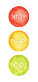 Watercolor circles, traffic lights, vector  Stock Image
