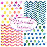 Watercolor circles, waves and zigzag Royalty Free Stock Photography
