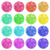 Watercolor circles  on white background. Colorful hand painted banners set. Vector illustration Stock Image