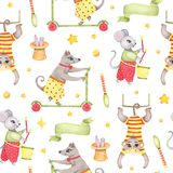 Watercolor circus animal seamless pattern with monkey dog mouse rabbit in hat isolated. Watercolor circus animal seamless pattern with monkey hanging on swing vector illustration