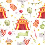 Watercolor circus animal seamless pattern with circus tent, elephant on ball isolated