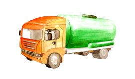 Watercolor cistern tank truck with a green cylinder and orange cabin  isolated on white background. Watercolor cistern tank truck with a green cylinder and royalty free illustration