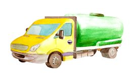 Watercolor cistern tank van truck with a green cylinder and a yellow cabin  isolated on white background. Watercolor cistern tank van truck with a green cylinder stock illustration