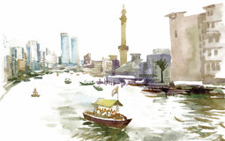 Watercolor city canal with boat illustration vector Royalty Free Stock Photography