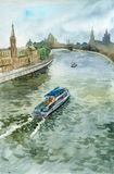 Watercolor city landscape with boat at water channel. Hand drawn illustration Stock Images