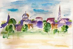 Watercolor city landscape Royalty Free Stock Photo