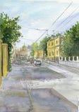 Watercolor city landscape Royalty Free Stock Photos