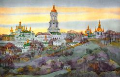 Watercolor cityscape. Ancient monastery on hill in evening haze. Colorful bright hand drawn watercolour drawing on paper with space for text on gloaming sky royalty free illustration