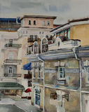 Watercolor cityscape in central part Yalta, Crimea Royalty Free Stock Photos
