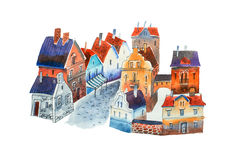 Watercolor cityscape. Illustration of old European town street with houses and block-stone pavement Stock Photos