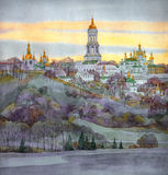 Watercolor cityscape. Monastery on steep bank of the river Stock Images