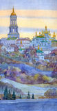 Watercolor cityscape. Monastery on steep bank of the river Stock Photography