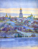 Watercolor cityscape. Monastery on steep bank of the river Stock Image