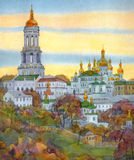Watercolor cityscape. Monastery on steep hill at autumn evening. Watercolor cityscape. Famous medieval edifices of Kiev-Pechersk Lavra: bell tower, temples Stock Photos
