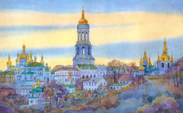 Watercolor cityscape. Monastery on steep hill in winter evening Stock Images