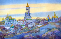 Watercolor cityscape. Monastery on steep hill in winter evening Stock Photo
