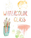 Watercolor class banner - background with brushes, stains Royalty Free Stock Photos