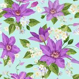 Watercolor Clematis Flowers. Floral Tropical Seamless Pattern for Wallpaper, Print, Fabric, Textile. Summer Background. With Blooming Purple Flowers. Vector Royalty Free Stock Photo