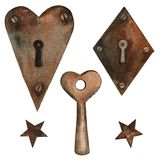 Watercolor clip art old rusty key, stars and keyholes. Isolated objects on a white background.