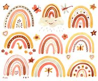 Watercolor clipart with cute boho rainbows