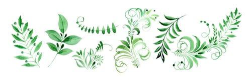 Watercolor clipart folk leaf patterns, Khokhloma Russian pattern.
