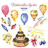 Watercolor clipart Happy birthday part 2. Watercolor set clipart Happy birthday Stock Photo