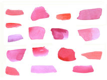 Watercolor clipart pink brush strokes, hand-painted, white background