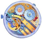 Watercolor clockwork Stock Photography