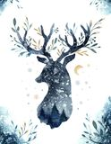 Watercolor closeup portrait of blue deer. Isolated on white background. Hand drawn christmas indigo illustration