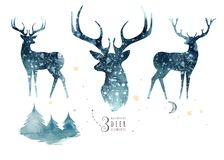 Watercolor closeup portrait of blue deer. Isolated on white background. Hand drawn christmas indigo illustration. Watercolor closeup portrait of cute deer stock illustration