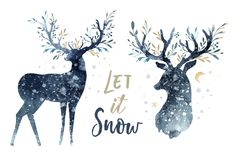 Watercolor closeup portrait of cute deer. Isolated on white background. Hand drawn christmas illustration. Greeting card