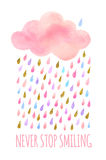 Watercolor cloud with rain. Cute pink watercolor cloud with rain. Set of watercolor objects isolated on white background for your design: textile, fabric Stock Photos