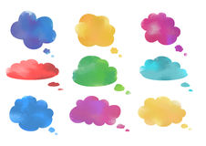 Watercolor cloud speech bubbles collection Royalty Free Stock Photo