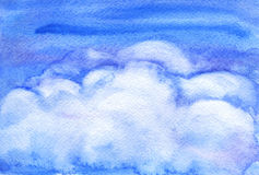 Watercolor clouds. Watercolor picture with a clouds in the sky Royalty Free Stock Image