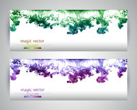 Watercolor clouds. Set of two banners. Royalty Free Stock Photos