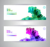 Watercolor clouds. Watercolor in water. Banners Royalty Free Stock Images