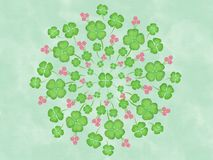 Watercolor Clover Leafs Flower Floral Mandala Canvas Painting Illustration Stock Photo
