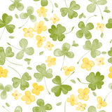 Watercolor Clover and little flowers seamless vector pattern Stock Photo