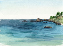 Watercolor coast of sea Stock Photography