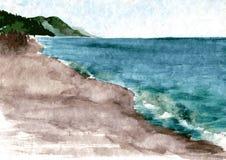 Watercolor coast of sea Stock Photo