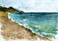Watercolor coast of sea Royalty Free Stock Photo