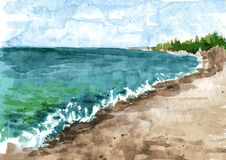 Watercolor coast of sea Royalty Free Stock Images