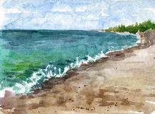 Watercolor coast of sea Royalty Free Stock Photo