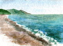 Watercolor coast of sea Stock Photo