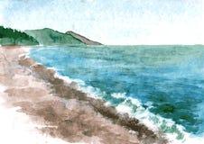 Watercolor coast of sea Royalty Free Stock Image
