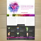 Watercolor Cocktail concept design. Corporate identity. Web site design Stock Photo