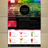 Watercolor Cocktail concept design. Corporate identity. Web site design Royalty Free Stock Image
