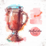Watercolor cocktail mulled wine sketch. Stock Photography